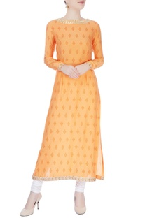 Orange printed long kurta