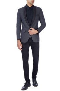 Navy blue tuxedo suit in polka dot print