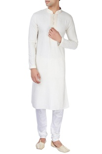 Off-white silk kurta