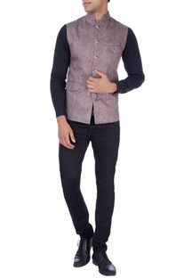 Multicolored paisely print nehru jacket