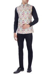 Multicolored graphic print nehru jacket