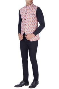 Multicolored waist style nehru jacket