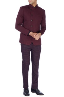 Maroon quilted bandhgala jacket