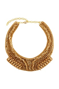 Gold plated coin & bead bib necklace