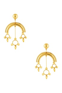 Gold plated dangler spike earrings
