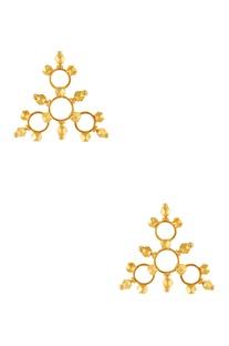Gold plated triangular shape earrings