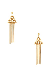 Gold plated earrings with long bead accents