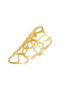 Gold plated long filigree ring