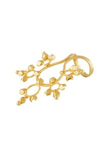 Gold plated long finger ring