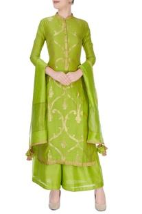 Green anarkali suit in ancient zari goldwork