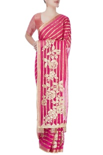 Pink printed sari with blouse