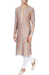 Almond hued kurta in block print