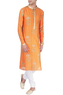 Orange kurta in block print with floral motifs
