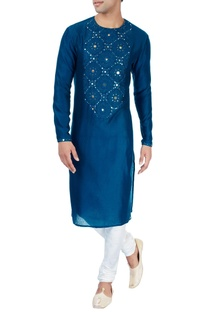 Indigo kurta in patra embroidery