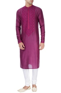 Purple kurta in patra embroidery