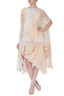 Peach cape & slip dress