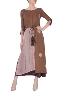 Brown slip dress with patch work tunic