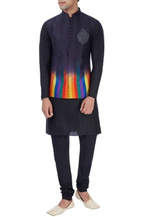 Charcoal nehru jacket with kurta & trousers