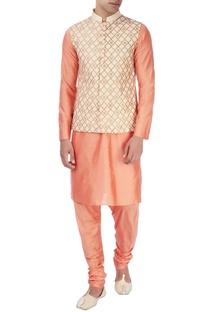 Peach nehru jacket with kurta & pyjamas