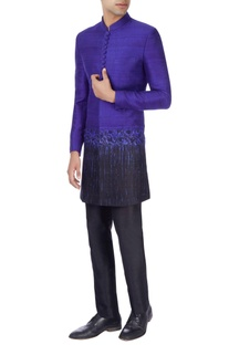 Royal blue & black sherwani with trousers