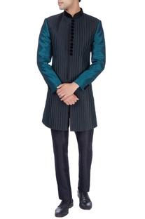 Black & green sherwani & trousers