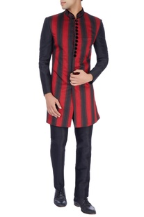 Red & black Nehru jacket & trousers