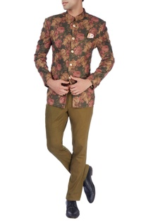 Multi-colored floral bandhgala & trousers