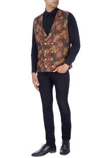 Multi-colored floral print vest