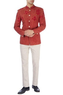 Maroon embroidered jacket & trousers