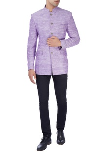 Lavender khadi bandhgala