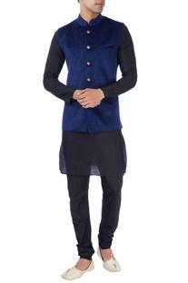Navy blue laser design bandi jacket