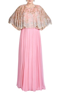 Pink gown with bead embroidered cape