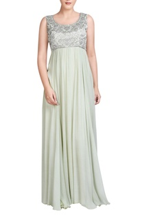 Light sage green gown with silver embroidery