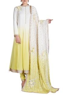 Yellow & white shaded anarkali set