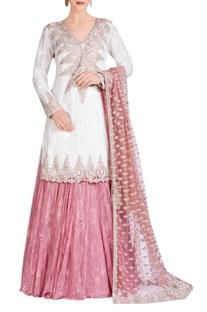 Ivory & pink embroidered lehenga set