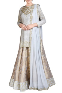 Powder blue embroidered lehenga set