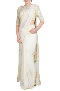 Pale yellow embroidered sari set with jacket