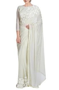 Light sage green sari with bead embroidery