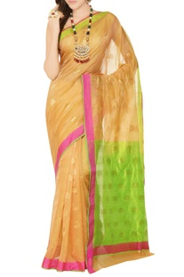 Peach sari with gold motifs