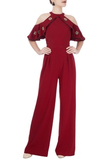 Wine red cold-shoulder jumpsuit
