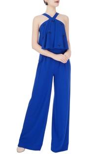 Royal blue embellished jumpsuit