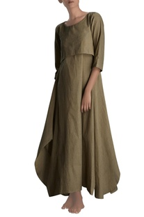 Khaki asymmetric maxi dress