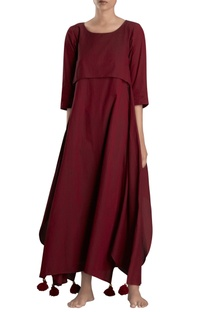 Maroon asymmetric maxi dress
