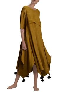 Mustard yellow asymmetric maxi dress