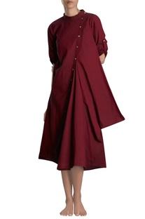 Maroon asymmetric midi dress