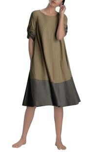 Khaki & grey flared dress