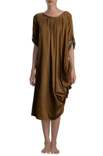 Brown draped midi dress