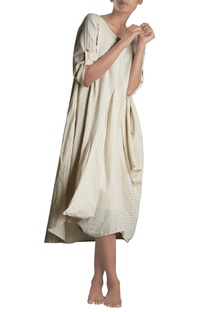 White handloom cowl dress