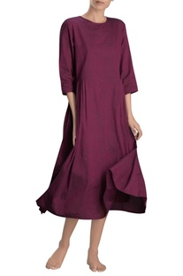 Dark pink pleated midi dress