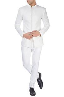 White bandhgala in cutout pattern